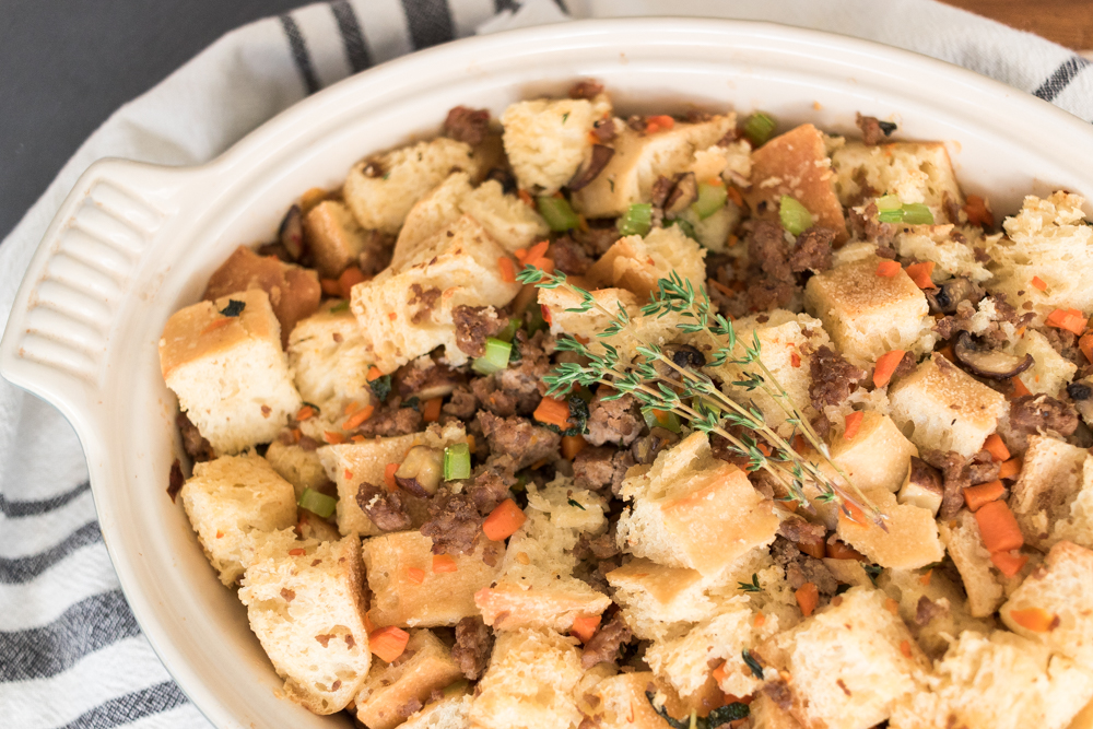 Rustic Sausage, Herb and Ciabatta Bread Stuffing